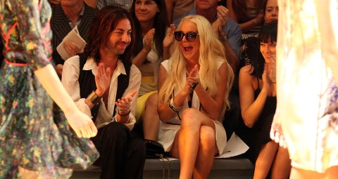 Lindsay Lohan, Patrick Aufdenkamp attend the Cynthia Rowley Spring 2012 runway show during Mercedes0Benz Fashion Week