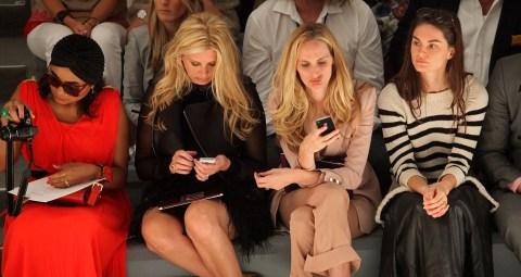 Aslaug Magnusdottir and Lauren Santo Domingo front row at ADAM Spring 2012 runway show at NYFW