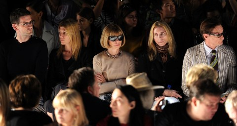 Anna Wintour sitting front row at the DVF Spring 2012 runway show at NYFW