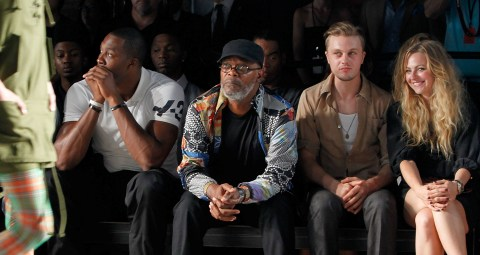 Samuel L. Jackson, Dwight Howard, Michael Pitt, Stacey Pitt front row at Y-3 Spring 2012 runway show