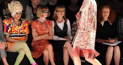 Nikki Minaj and Anna Wintour front row at Carolina Herrera Spring 2012 runway show at New York Fashion Week