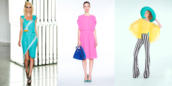 Bright color trends seen in Rodarte, J Crew, and Alice+Olivia runway show for Spring 2012