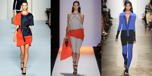 Color block trend seen at NYFW during Marc Jacobs, Ohne Titel, and BCBG Max Azria spring 2012 runway shows