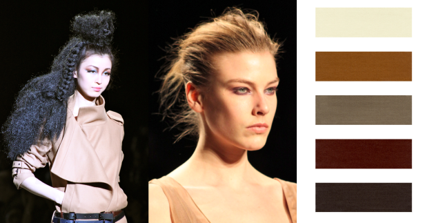 Medium muted naturals beiges, brick and browns are a hot trend for Fall 2011 Beauty