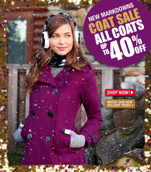 Delia's holiday coat sales 40 percent off