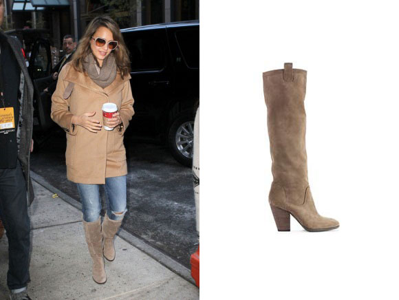 Jessica Alba spotted in NYC wearing the Vince Camuto suede Braden boots
