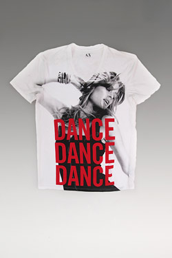 t-shirt for dance4life and armani exchange in partnership with doutzen kroes for world aids day
