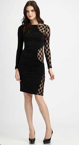 ABS polka dot holiday dress at saks