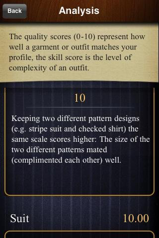 Screenshot of the BeSpeak Personal Stylist App for the iPhone