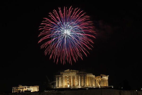 2012 New Year's Celebration at the Parthenon in Athens