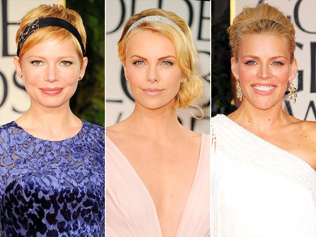 Michelle Williams, Charlize Theron (in Cartier) and Busy Philipps at the golden globes hair trends