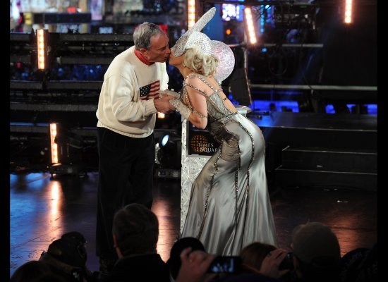 Lady Gaga and Mayor Michael Bloomberg kiss during New Year's celebration in NYC